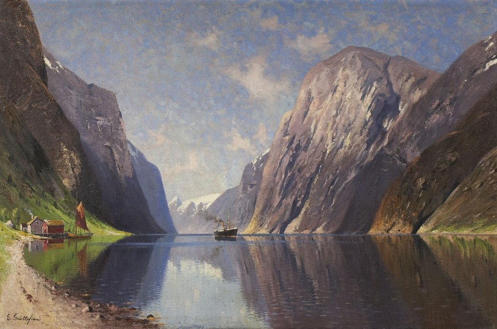 """Fjord with Steamer"" (1871), by Elisabeth Grüttefien-Kiekebusch. Source: https://commons.wikimedia.org"