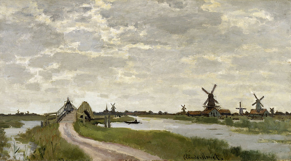 """Windmills Near Zaandam"" (1871), by Claude Monet. Source: https://commons.wikimedia.org"