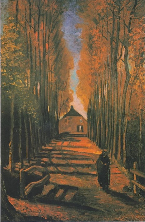 """Avenue of Poplars in Autumn"" (1884), by Vincent Van Gogh. Source: https://commons.wikimedia.org"