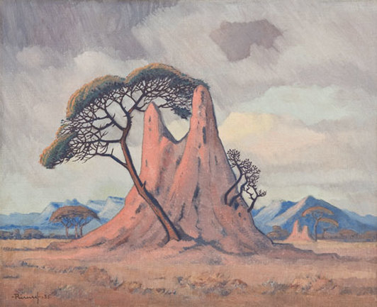 """South West African Landscape with Termite Hill, Umbrella Trees and Mountains in the Background""  (1935), by Jacob Hendrik Pierneef. Source: https://commons.wikimedia.org"
