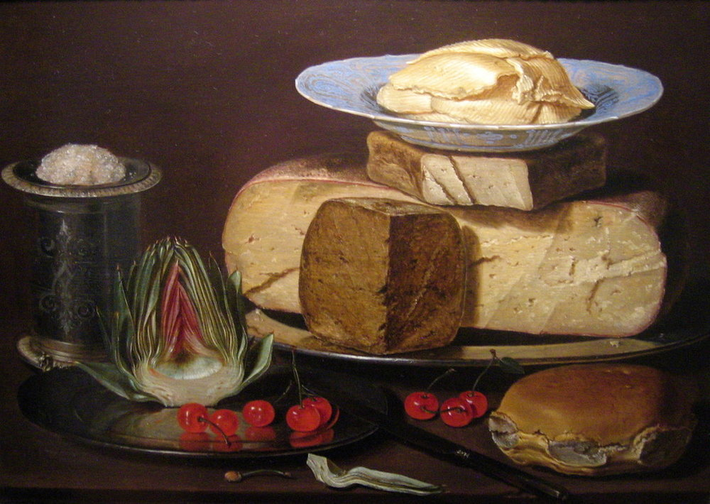"""Still Life with Cheeses, Artichoke, and Cherries"" (1612-1618), by Clara Peeters. Source: https://commons.wikimedia.org"