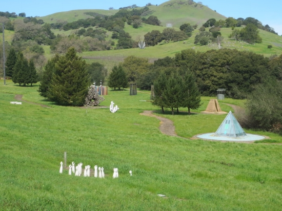 sculpture meadow and hills beyond the residence
