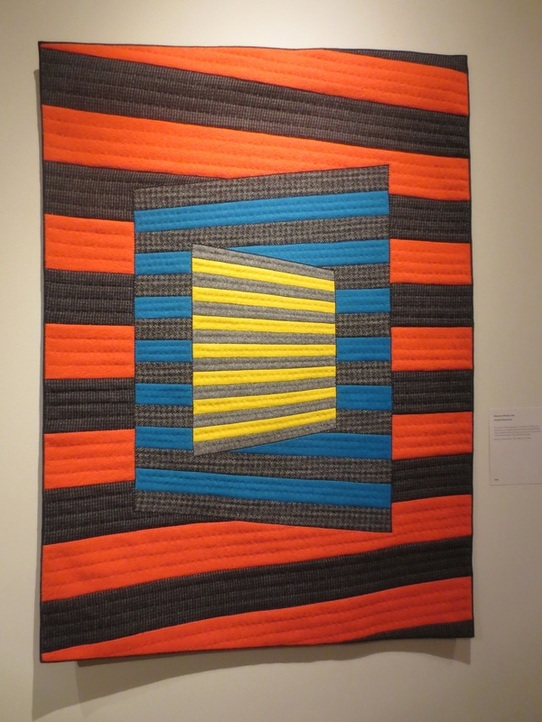 """Parallel Dimensions"" (recycled wool, wool blends, cotton)), by Maureen Whalen Cole. STRATA, SAQA  Northern California/Northern Nevada, Harrington Gallery, Firehouse Arts Center, Pleasanton CA."