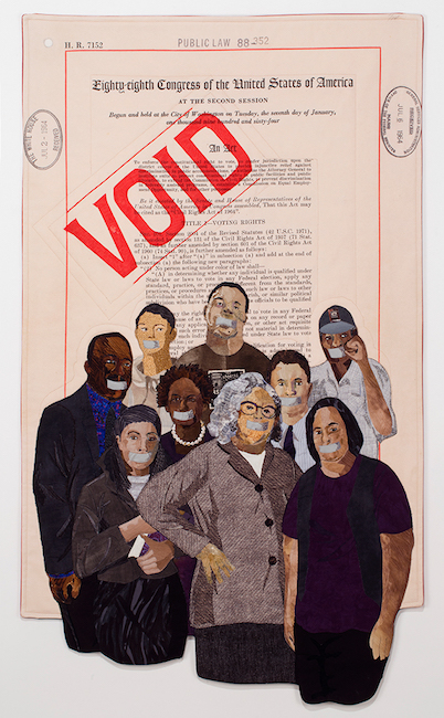 """No Vote, No Voice"" (2017), by Alice Beasley. Textiles. This is Beasley's response to the day the Supreme Court gutted the Voting Rights Act and turned its back on voting as central to democracy."