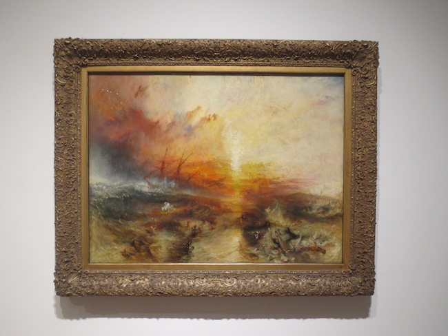"""Slave Ship (Slavers Throwing Overboard the Dead and Dying, Typhoon Coming Out),"" 1840, by Joseph W. M. Turner. oil on canvas. Museum of Fine Arts, Boston. A year after the reprinting of Thomas Clarkson's 1808  History of the Abolition of the Slave Trade,  this painting coincides with the first meeting in London of the World Anti-Slavery Convention to campaign for the end of slavery."