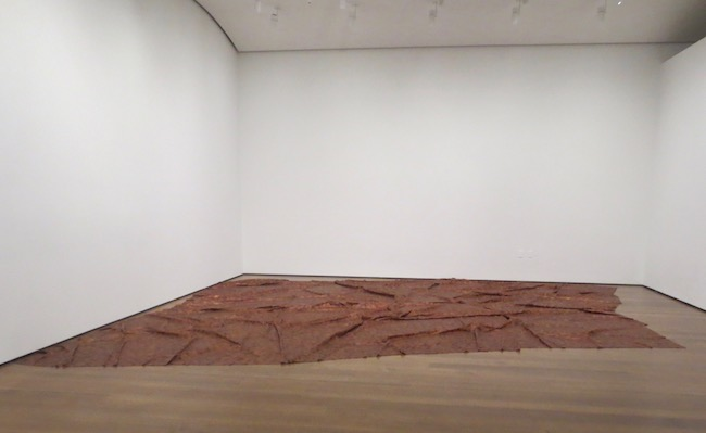 A Flor de Piel  (2013), by Doris Salcedo. Harvard Art Museums, Cambridge, MA. Measuring approx. 11 ft. x 16.5 ft., this tapestry is comprised of thousands of treated and preserved, hand-stitched rose petals and intended as a shroud for a nurse who was kidnapped and tortured to death.