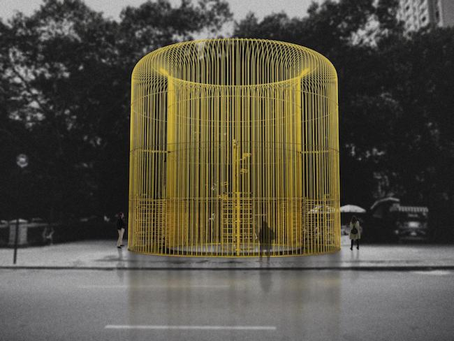 "Rendering of ""Good Fences Make Good Neighbors,"" by Ai Weiwei. Commissioned by the Public Art Fund, this Chinese artist and activist will build more than 100 fences across New York City in response to the international migration crisis. He was an immigrant in NY in the 1980s for 10 years. Source: various online news releases."