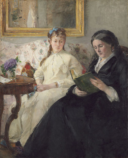Portrait de Mme Morisot et de sa fille Mme Pontillon ou La lecture  (1869/70), by Berthe Morisot. National Gallery of Art,   Washington, D.C.  Source: https://commons.wikimedia.org