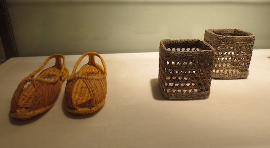 Shoes and baskets made from  hanji  (Korean handmade paper). Jong le Nara Paper Art Museum, Seoul.