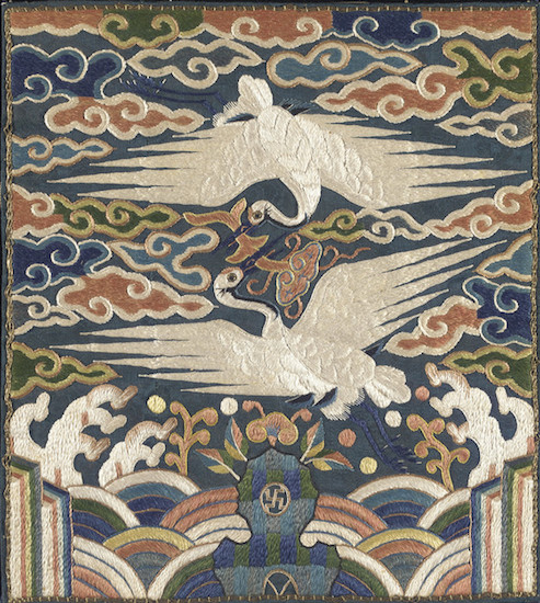 Badge ( Hyungbae ) of the Upper Civil Rank with Two Cranes. Los Angeles County Museum of Art, Los Angeles.  Source: https://commons.wikimedia.org/
