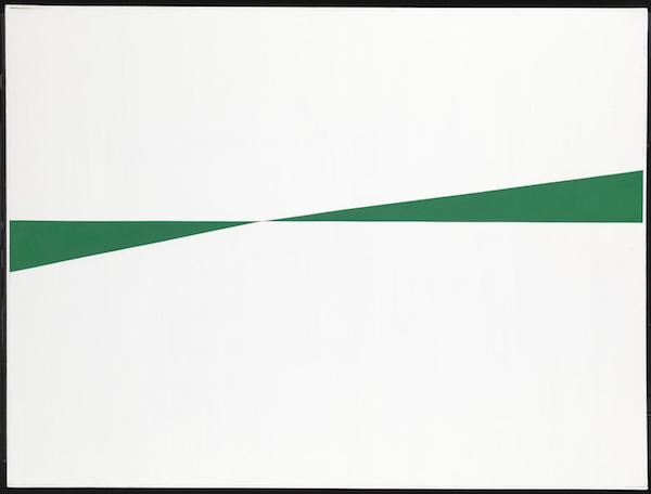 """""""White and Green"""" (1959), by Carmen Herrera (1915- ). © Carmen Herrera.  Source:  http://www.tate.org.uk/art/artists/carmen-herrera-9101"""