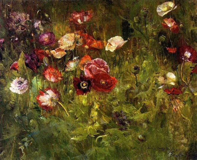 """A Bed of Poppies"" (1909), by Maria Oakey Dewing. Addison Gallery of American Art, Phillips Academy, Andover, Massachusetts.  Source: https://commons.wikimedia.org/"