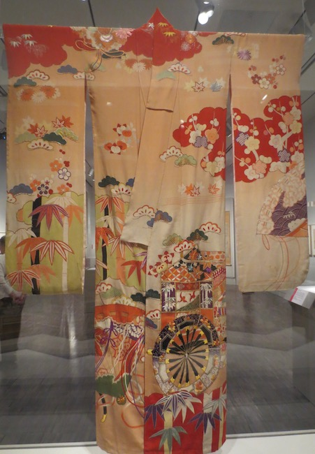 Long-sleeved kimono ( furisode ) with auspicious motifs (approx. 1912-1935), Japan. Silk, paste-resist dyed, embroidery. Asian Art Museum, San Francisco.