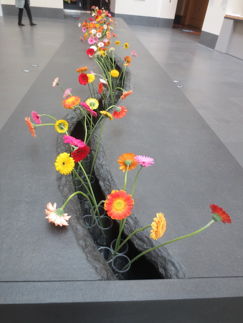 """The Moving Garden"" (2009), by Lee Mingwei. Stainless steel, granite, water, fresh flowers. Asian Art Museum, San Francisco."