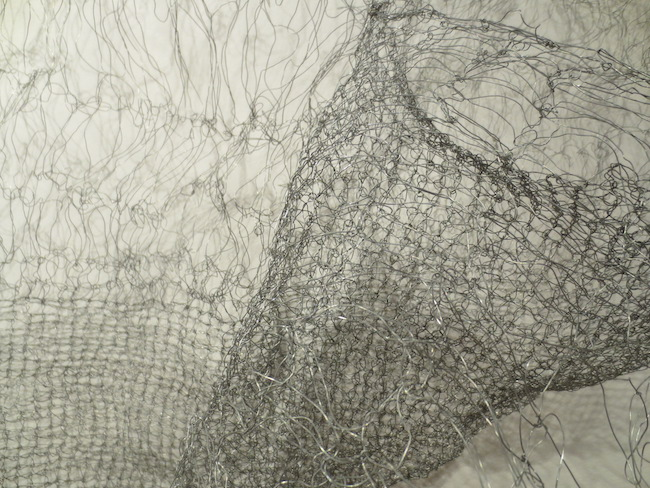 "Detail of ""Openwork 1"" (2017), by Lily Homer. Steel wire. Berkeley Art Center."