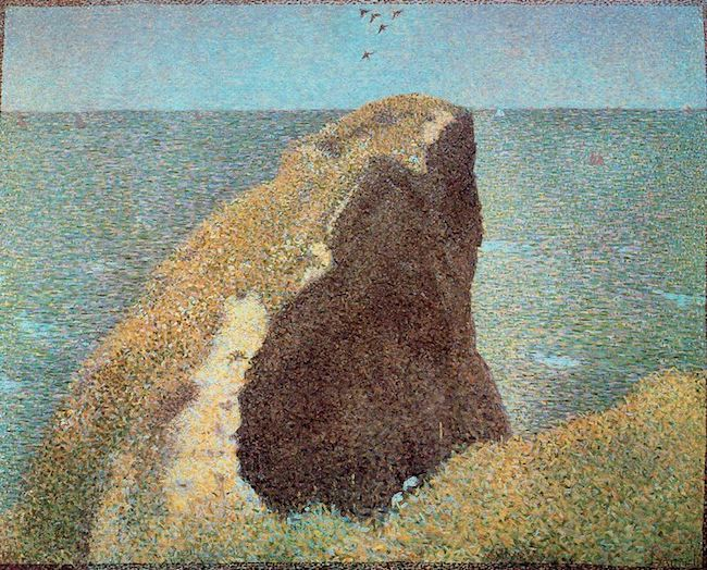"""Le Bec du Hoc à Grandcamp"" (1885), by Georges Seurat. Tate Gallery,   London.   Source: https://commons.wikimedia.org"