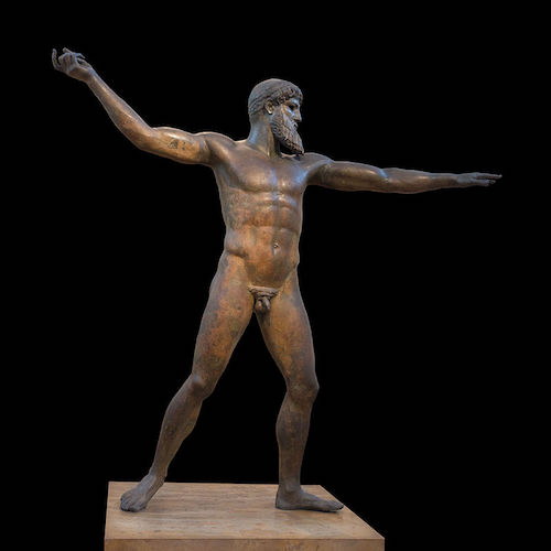 Zeus (or Poseidon). Bronze,   ca. 460 BCE. Found in sea at Cape Artemision, northern Euboea, Greece. Source: https://commons.wikimedia.org/