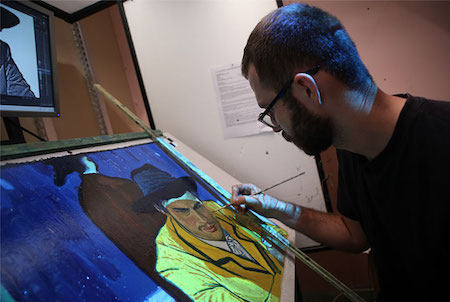 "Artist creating scene for ""Loving Vincent."" Source: http://www.imdb.com/"
