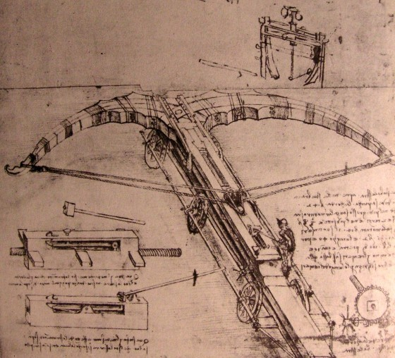 Design for an enormous crossbow (c.1500), by Leonardo da Vinci. Source:  commons.wikimedia.org