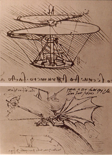 Studies for helicopter and experiment on lifting power of wing (1493), by Leonardo da Vinci. British Museum, London. Source:   commons.wikimedia.org