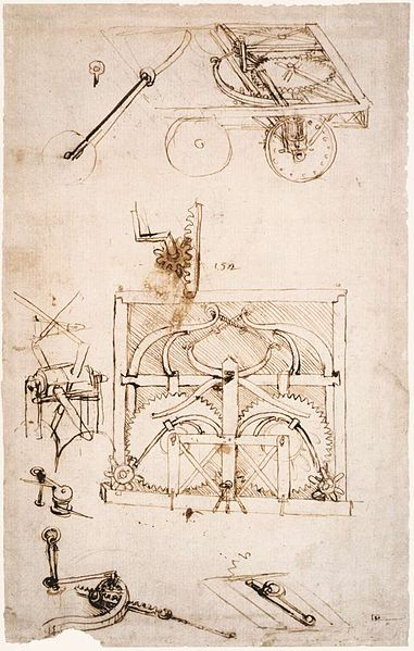 Design for an automobile (1478-80), by Leonardo da Vinci. Biblioteca Ambrosiana, Milan. Source:  commons.wikimedia.org