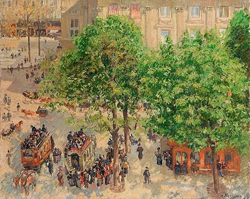 """Place du Theatre-Francais, Spring"" (1898), by Camille Pissarro. The State Hermitage Museum, Saint Petersburg, Russia. Source: commons.wikimedia.org/"