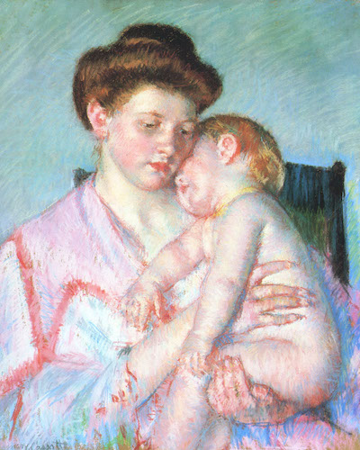 """Sleepy Baby"" (1910), by Mary Cassatt.  Source: commons.wikimedia.org/"