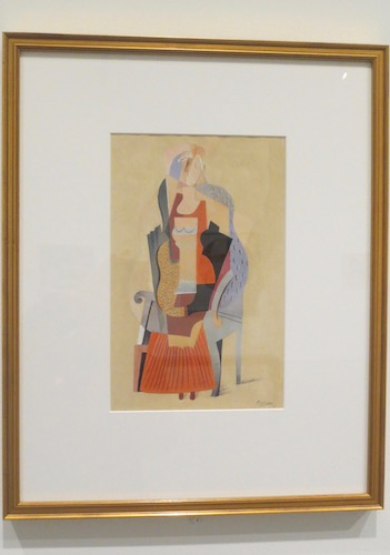 """Young Girl in an Armchair"" (1917), by Pablo Picasso. Gouache and black ink over graphite on wove paper. Speed Art Museum, Louisville, KY."