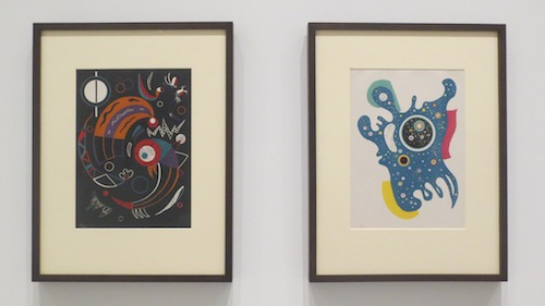 """Kometen"" (1938) and ""Sterne"" (1938), color lithographs, by Wassily Kandinsky. Fine Arts Museum of San Francisco."