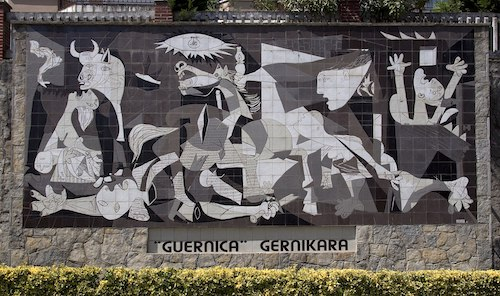"Tiled version of Picasso's famous painting ""Guernica"" in the Basque town of Guernica, Spain. Photo by Tony Hisgett.   Source: commons.wikimedia.org"