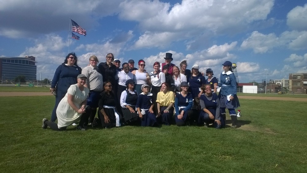 Sunday, July 13, 2014, Ann Arbor Derby Dimes members mingled with vintage base ball team Detroit River Belles in a charity game benefiting Alternatives for Girls.
