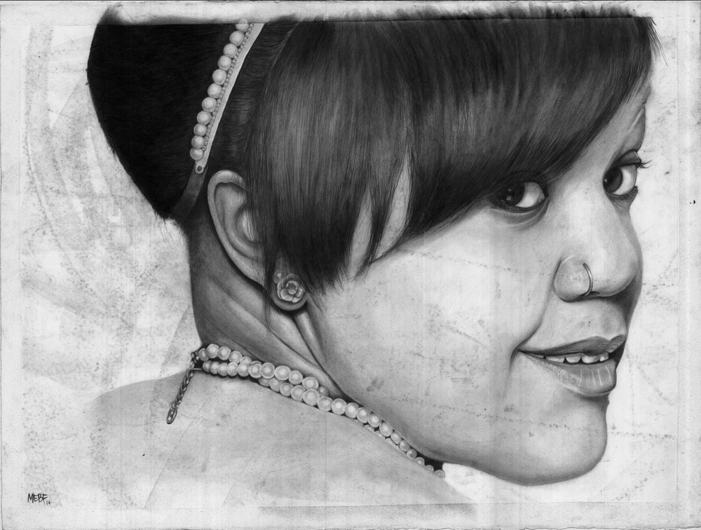 "Michelle O'Bomb Ya carbon dust drawing / MeganE. B. ""Scargyle"" Foldenauer, PhD, CMI"