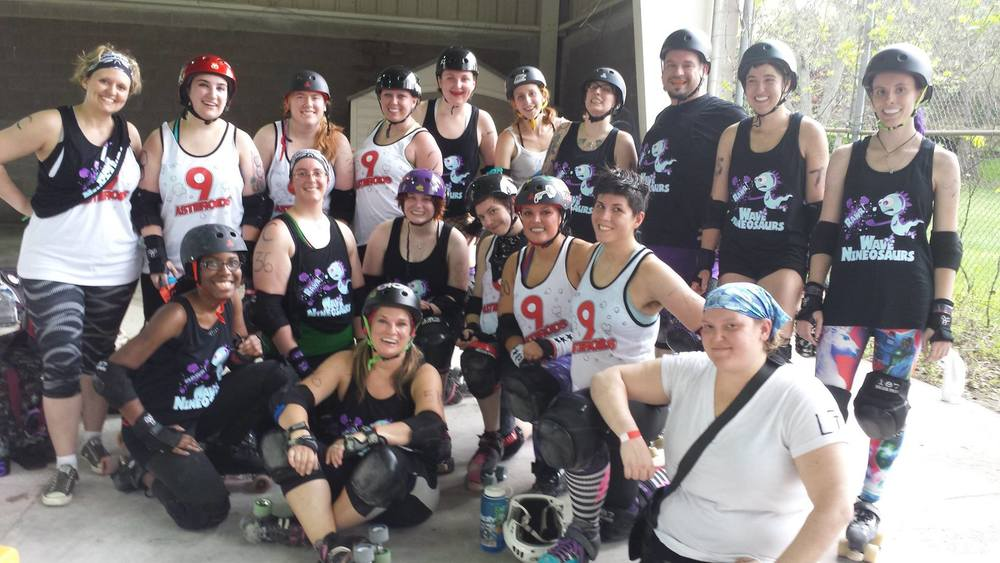 BACK ROW  - Skim MILF  (trainer) , Marty McFlyBy, Freeda Radical, Amelia Spareparts, Shrewd Folly, Bernadine Scorn, Ashes to Ashes, Ecto-1, Yosemighty, Roxy Shazam  FRONT ROW  - Walking Dread, Earthing Shattering KaBoom, Cersei Slammister, Hellinor Bruisevelt, Smaxl Rose, Surly Temple, Riot Hrrrl  DOWN FRONT  - Lica Boss  NOT PICTURED  - A. Slaughter, Annie Choakley, Erlenmeyer Smash, Kink Stropharia, Kraken Hearts, El Chupacobleigh, MegaHurtz