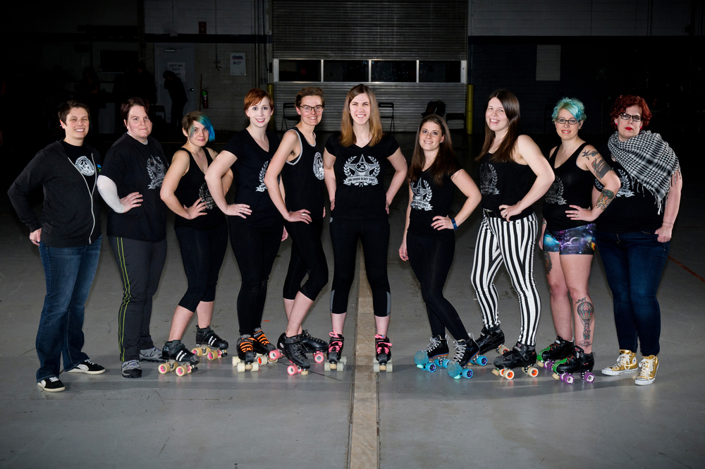©  Andrew Potter , 2016   FROM LEFT TO RIGHT  - Crash Tested, D. Veeyant, MomoCat Attack, BB-SK8, Beatrix Slaughter, Velociroller, Jenny NoNo, Jammasaurus Rex, Polly Slammerous, Tia
