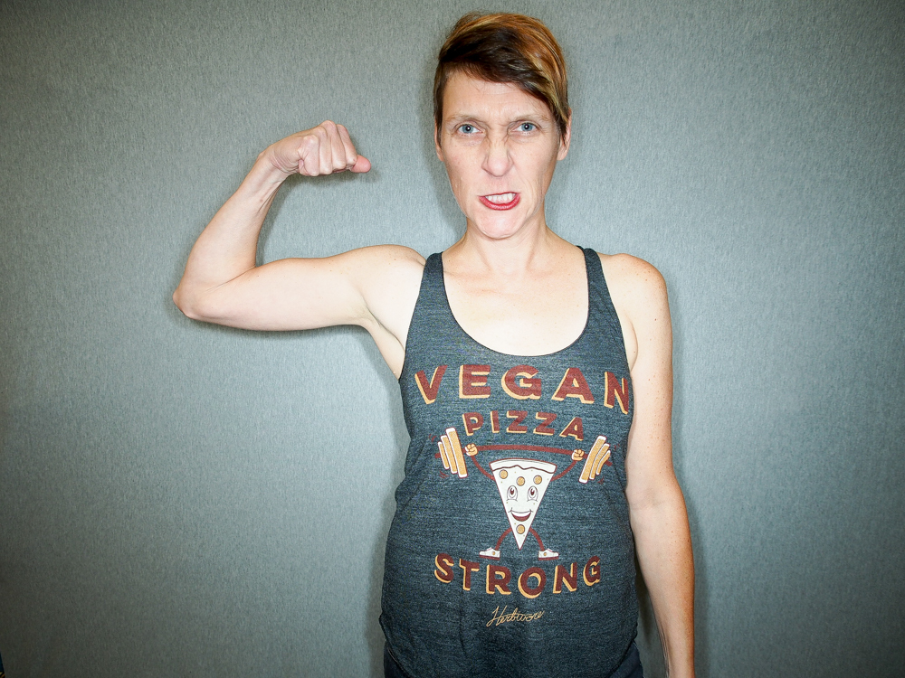 This isn't Scream, but like Scream they're vegan and strong.  Image via  Herbivore Clothing