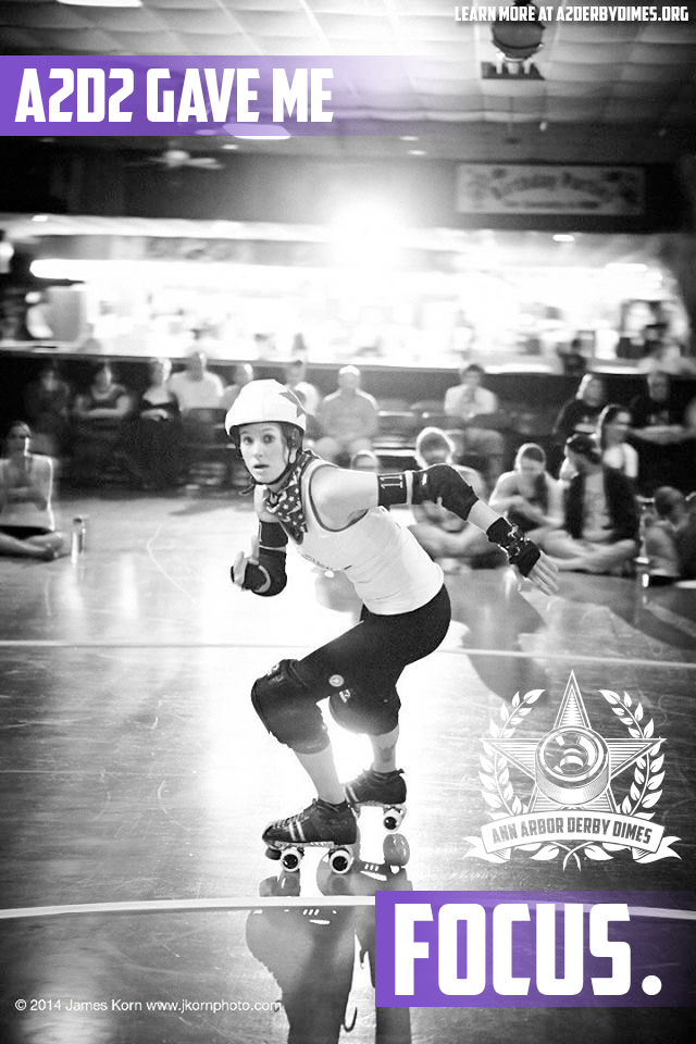"""Being a member of the Ann Arbor Derby Dimes has taught me self discipline. It's showed me the strength, both physical and mental, that is necessary to set, strive for and attain goals. It's taught me that through hard work, determination and the support of my league and teammates, I can achieve things that I previously couldn't even dream of."" -Lezzie Arnaz, Brawlstars co-captain  Learn how  A2D2 helps you shatter personal barriers .  Photo:  JKorn Photographics"