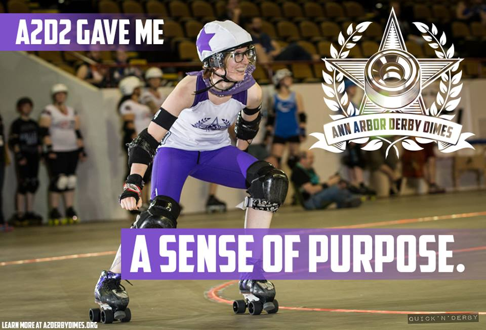 """A2D2 has given me life. As someone who struggles daily with anxiety and depression, roller derby has been a constant reminder that I am enough. I have a sense of belonging within my league and my team. I have made friends who have given me a place to stay, cooked me food, sent a message just to check in, or a squeeze of the hand at practice when they can see I am having a difficult time (mentally or physically). A2D2 has taught me that I can be so much more. I am strong, and not just on the track. I am capable. I can lead a team. I can feel good feelings. I have a sense of purpose."" -Slamuel L. Jackson, Brawlstars skater and A2D2 Art Director  Learn how  A2D2 is a supportive community .  Photo:  Quick N Derby"