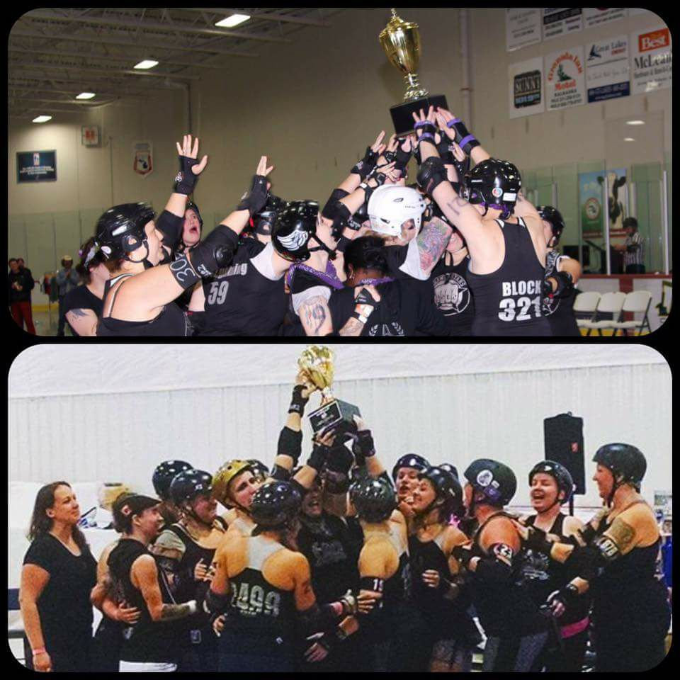 Top: Brawlstars took first place at the 2013 Mitten Kittens tournament. Bottom: Arbor Bruising Company brought home the first place trophy in Mitten Kittens' 2016 division 1 tournament.