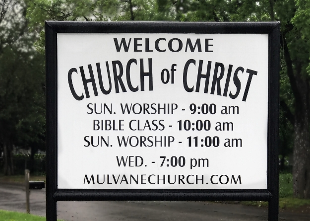 Mulvane church front sign