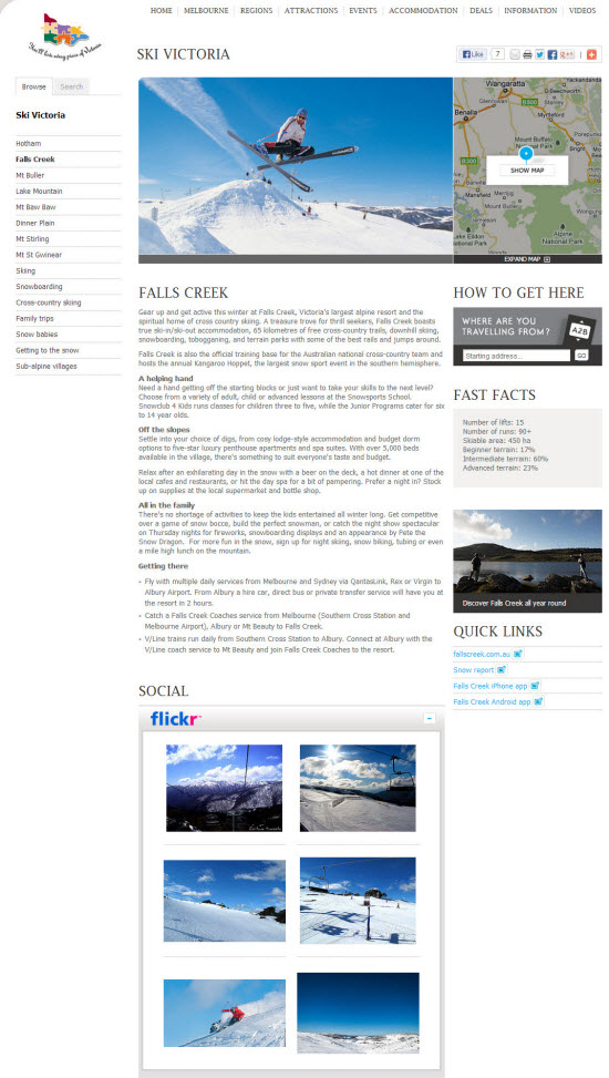 Content creation and build-out for Ski Victoria campaign 2014.
