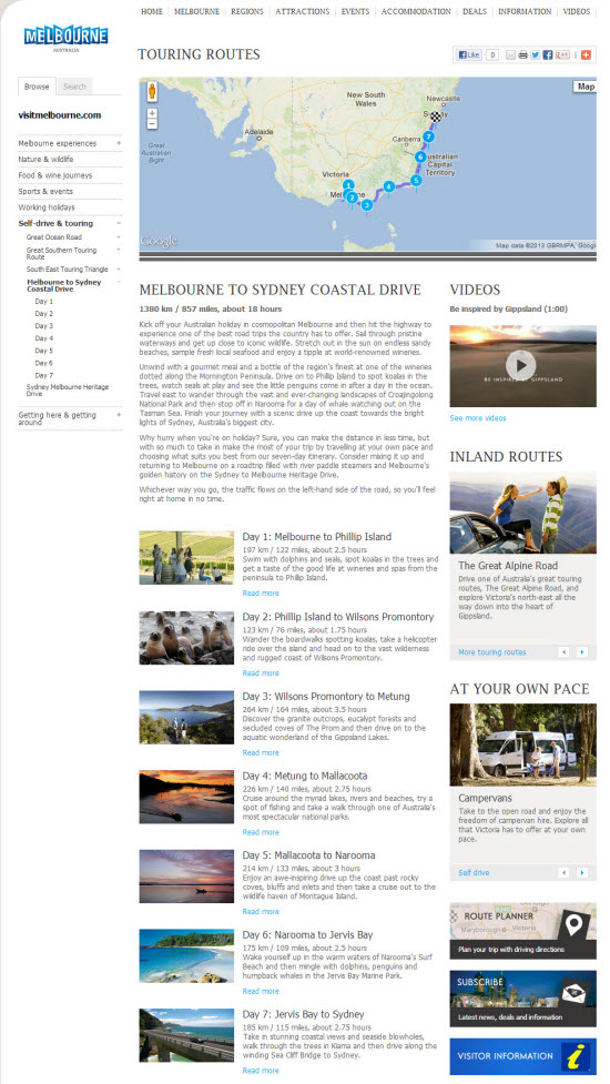 Touring Routes content creation and build-out for Visitvictoria.com