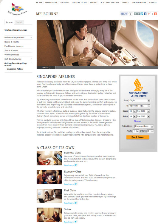 Content creation for Singapore Airlines UK campaign