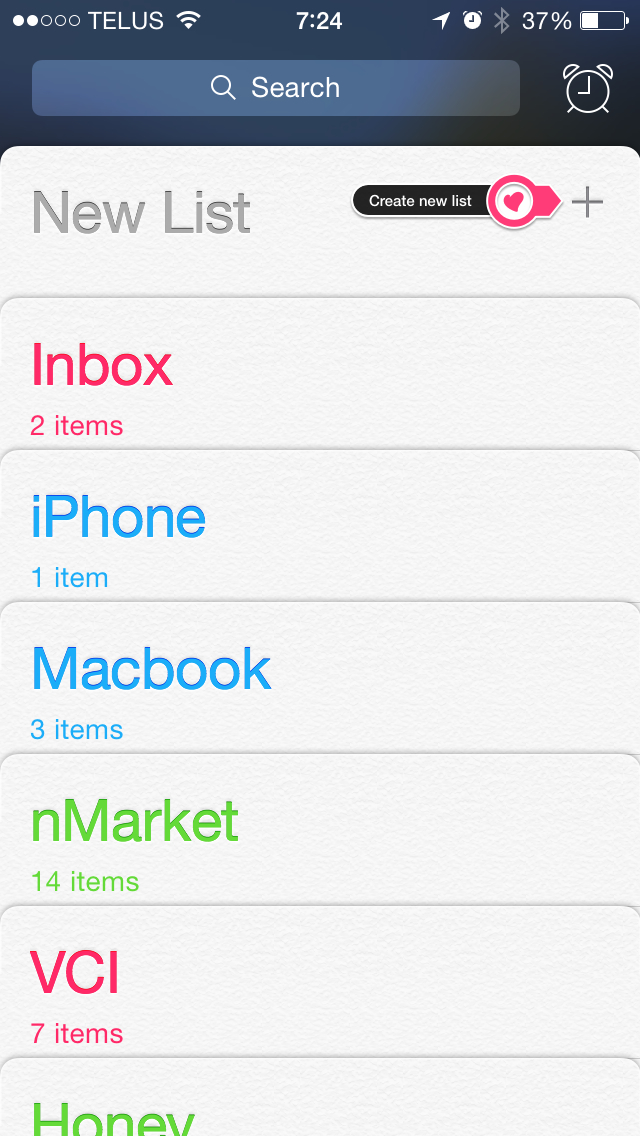Create a new Reminders list