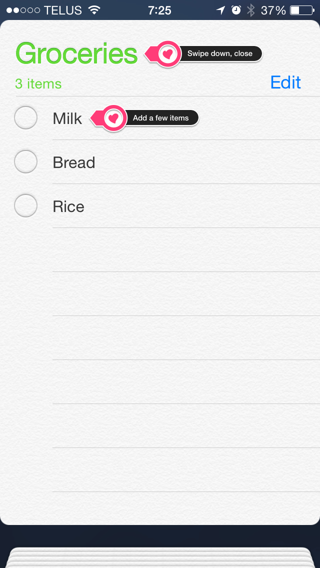 Add a items to your Reminders list