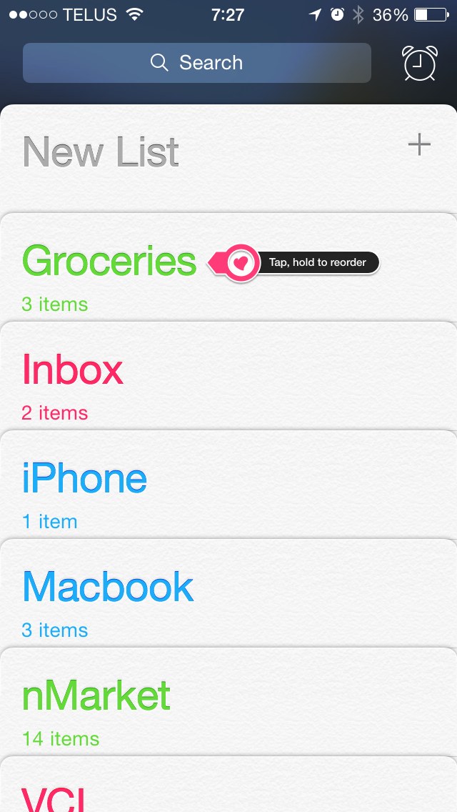 Reorder your Reminders lists