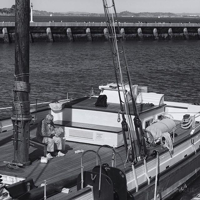 Working on his boat. #SanFrancisco  #boat #sailor #sailing #California  #blackandwhite #bnw #monochrome #instablackandwhite #monoart #insta_bw #bnw_society #bw_lover #bw_photooftheday #photooftheday #bw #instagood #bw_society #bw_crew #bwwednesday #insta_pick_bw #bwstyles_gf #irox_bw #igersbnw #bwstyleoftheday #monotone #monochromatic #noir #fineart_photobw @flakphoto