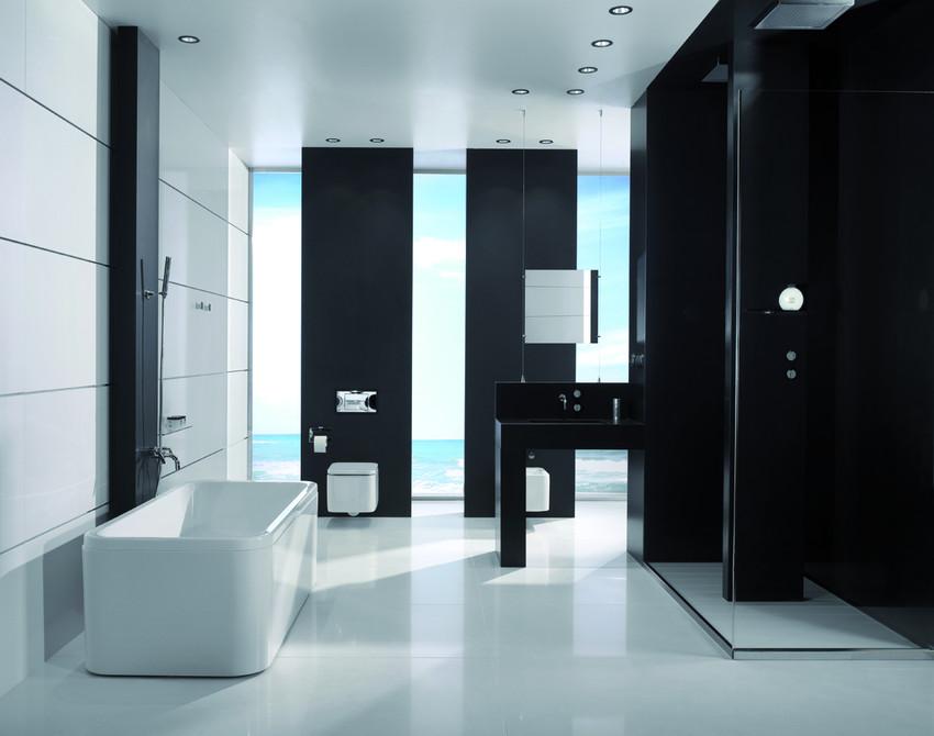 Tuiles de quartz magasin c ramique au sommet soligo tile for Salle bain noire et blanche
