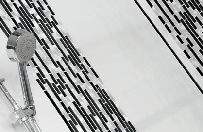 douche en céramique soligo noire et blanche douche laval blainville rosemere montreal