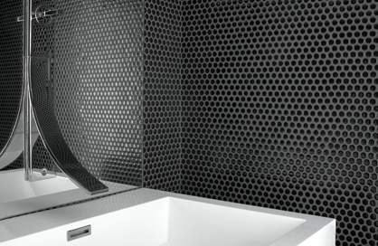 tile shower black hexagone soligo laval blainville rosemere montreal