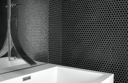 céramique laurentides salle de bain noir hexagonal